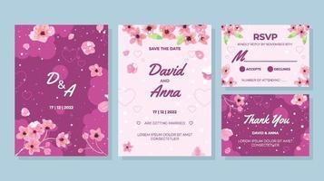Wedding Invitation Snow Sakura Concept vector