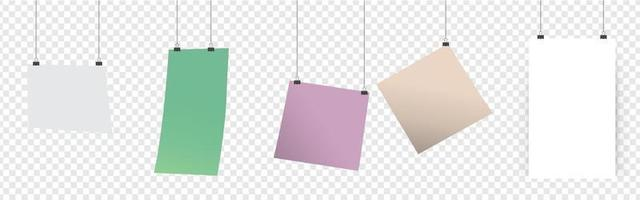 Blank hanging paper sheet with blinder clip, vector set. Empty white photo frame mockup. poster, banner, square. Realistic picture hanging. Concept art gallery canvas portfolio. Isolated illustration