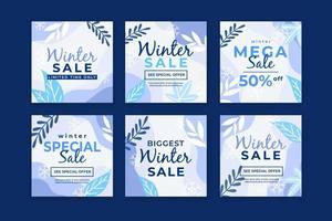 Winter Sale Social Media Post Template vector