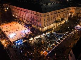 Aerial view of christmas city center with crowd of people photo