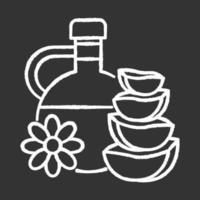 Natural oil chalk white icon on black background vector