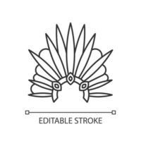 Brazilian carnival headwear pixel perfect linear icon vector