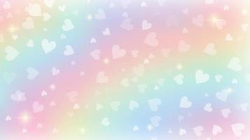 Rainbow fantasy background. Holographic illustration in pastel colors. Cute cartoon girly background. Bright multicolored sky with bokeh and hearts. Vector. vector