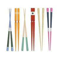 Japan stick colorful traditional utensils eating japan food sushi wooden chopstick collection vector