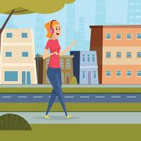 Listen music street outdoor character standing urban landscape with headset smartphone student leisure background vector