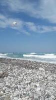 THEOLOGOS, RHODOS, GREECE - SEPTEMBER 16, 2021 Kitesurfing in the Aegean Sea photo