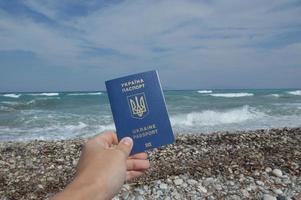 International passport of a citizen of Ukraine for travel photo