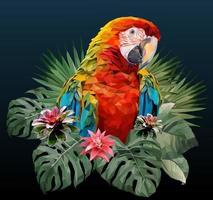 Macaw bird with Amazon leaves vector