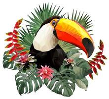 Toucan bird head with leaves vector