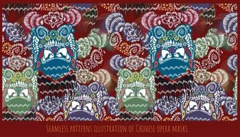 Chinese opera mask pattern in a seamless pattern vector
