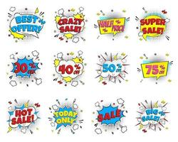 12 Special offer speech bubbles with comic lettering about SALE set in comic style flat design. Dynamic retro vintage pop art illustration isolated on white background. Hot sale, special offer etc... vector