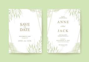 Greenery beautiful and romantic wedding invitation template vector
