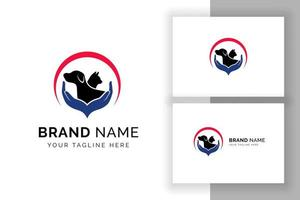 pet care logo design template. cat and dog silhouette with hand care illustration vector
