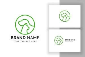 pet clinic logo design template. cat and dog vector silhouette