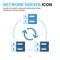 Network server icon vector with flat color style isolated on white background. Vector illustration networking sign symbol icon concept for digital IT, logo, industry, technology, apps, web and project
