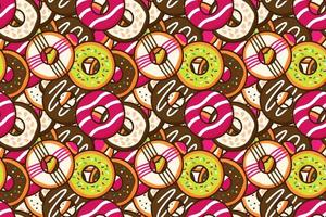 Group of colorful sweet donuts with glaze and sprinkles background Top view doughnut seamless pattern backdrop wallpaper Dessert and bakery concept Trendy cute cartoon food free vector illustration
