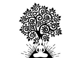 Visakha Puja Day, Meditating Buddha and Bodhi tree in Sacred lotus logo template. Sacred tree, Ficus religiosa, Tree of life concept. Vector isolated on white background