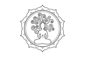 Visakha Puja Day, Buddha statue and Bodhi tree in Sacred lotus logo template. Sacred tree, Ficus religiosa, Tree of life concept. Vector isolated on white background