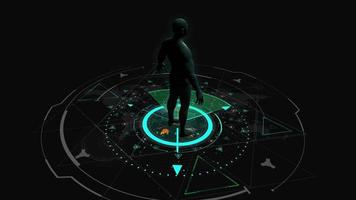 interface do modelo humano 3d hud video