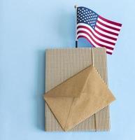 USA flag and envelope. photo