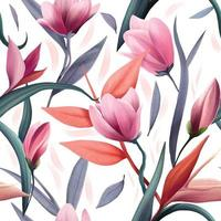 Seamless vector pattern with watercolor flowers and leaves, magnolia and bird of paradise flowers, semaless pattern for fabric Illustrator Artwork