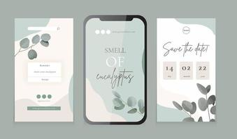 Social media feed, vector template for vertical posts and stories, watercolor eucalyptus