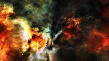 Space Flight deep space exploration travel to dark orange Nebula. video