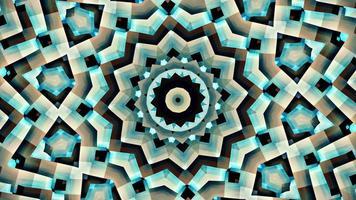 padrão de sequência de mandala estrela azul cinza. Loop sem costura 4k video