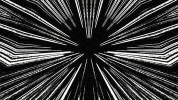 líneas de velocidad de la luz hipnóticas cómicas que mueven la rotación sobre fondo negro. video