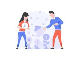 Vector Illustration business finance man and women doing money grow strategy plant teamwork branding people character flat design style
