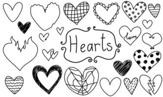 Doodle hearts frames set love hand drawn. Valentine's day for wedding isolated collection. vector
