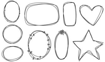 Doodle frames set hand drawn. Round, heart, star lines with flowers, plants. Valentine's day for wedding isolated collection. vector