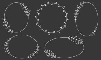 Doodle white frame set hand drawn. Round lines with flowers, plants. Valentine's Day, for a wedding collection. vector