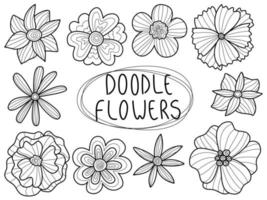 Doodle cute flowers set love hand drawn. Valentine's day for wedding isolated collection. vector