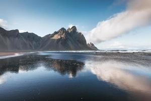 Beautiful Jokulsarlon ake with mountain and blue sky background, Iceland season landscape background photo