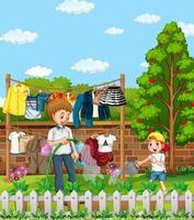 Outdoor scene with father and his son watering plant in the garden vector