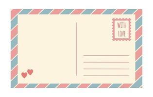 plantilla de postal vintage vector aislado sobre fondo blanco. tarjeta postal retro antigua romántica vacía. con amor
