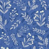 Beautiful winter season floral seamless pattern background. Frozen holly berry, mistletoe plant silhouette on blue background. Festive vector backdrop, seasonal textile design