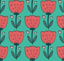 Cute seamless pattern with hand drawn tulip flower, heart doodle. Sweet childish bright spring background, textile, wallpaper vector