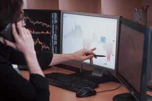 Over the shoulder view of and stock broker trading online while accepting orders by phone. Multiple computer screens ful of charts and data analyses in background photo