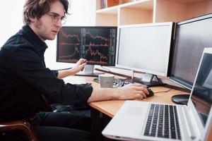 Stressful day at the office. Young businessman holding hands on his face while sitting at the desk in creative office. Stock Exchange Trading Forex Finance Graphic Concept photo