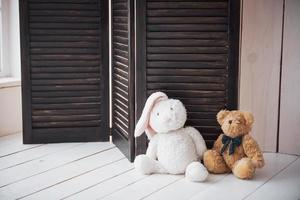 Two enamored teddy toys bear and bunny sitting next to photo