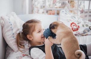 adorable niña alimentando lindo pug. compró un cachorro. el mejor amigo foto