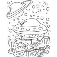 UFO coloring book page, spaceship on the surface with craters and fantasy patterns vector