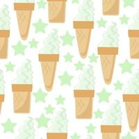 Ice cream cone and cup seamless pattern, cold dessert and delicate stars on a white background vector