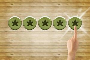 Touching Star rating and negative reviews concept, reputation management, Increase rating company or ranking photo