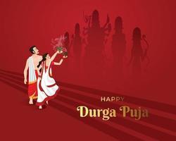illustration of Couple performing Dhunuchi dance in Durga puja Bengal vector