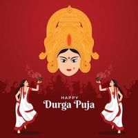 Illustration of people celebrating the occasion of Durga Puja Festival with Dhunuchi dance vector