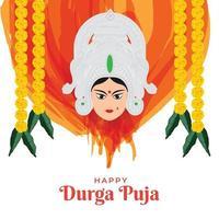 illustration of Goddess Durga Face in Happy Durga Puja Subh Navratri festival vector