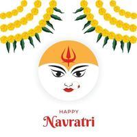 Vector illustration for Happy Navratri, happy Durga puja with Maa Durga face